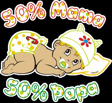 50% Mama 50% Papa Aufkleber